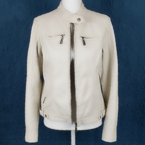 Jou Jou Jackets & Blazers - JouJou Vegan Leather Bomber Jacket Cream Size M